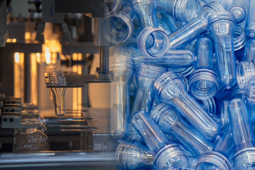 Abstract scene of  blowing bottle process  and raw material for plastic bottle blowing process .The sample of  injection process.
